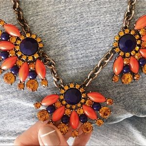 J. Crew Jewelry - J. Crew Orange and Navy Statement Necklace
